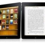 Two ipads displaying e-books and apps