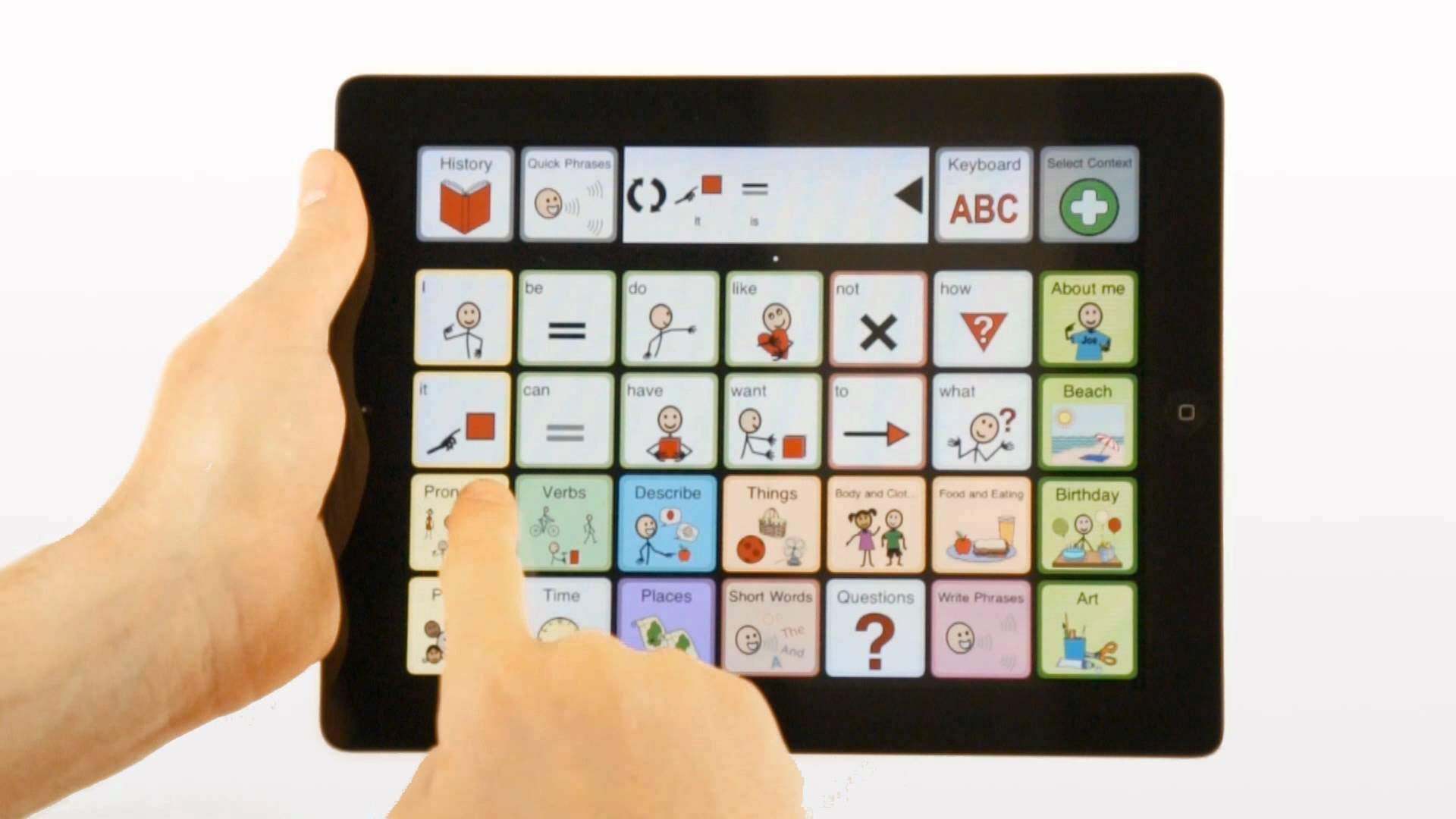 A tablet computer with an AAC aug communication app on the screen.