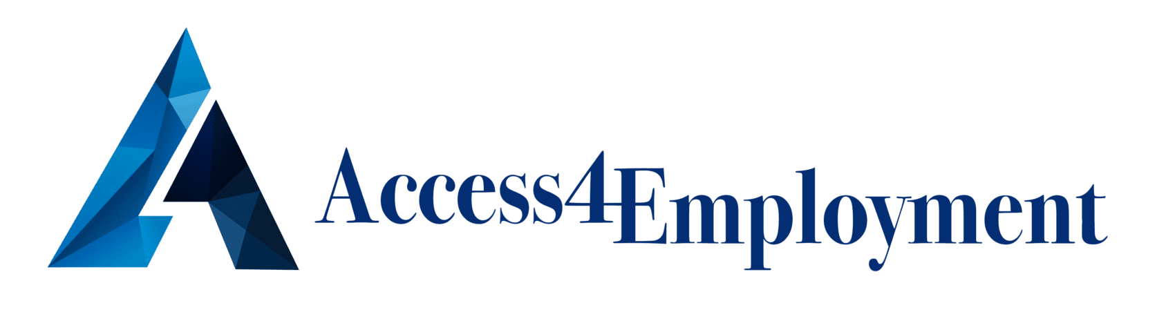 Access 4 Employment Logo, Geometric letter A in various shades of blue with business name
