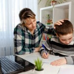 Mom and Son struggling through remote learning