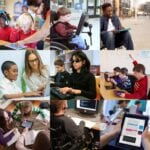 Students and educators using various devices